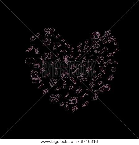 Stylized valentine heart made from different things