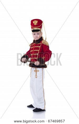 Handsome young hussar isolated on white