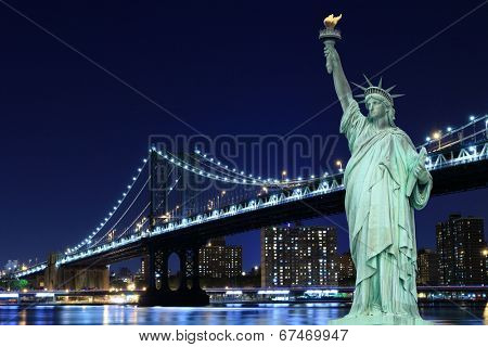 manhattan Bridge and The Statue of Liberty at Night, New York City