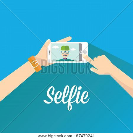 Taking Selfie Photo on Phone . vector illustration