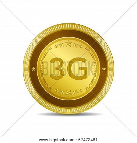 3g Sign Circular Gold Vector Button Icon