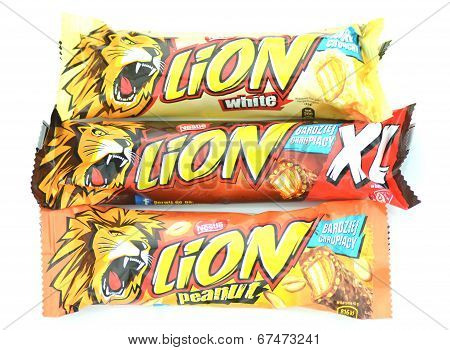 Lion chocolate bars isolated on white background.