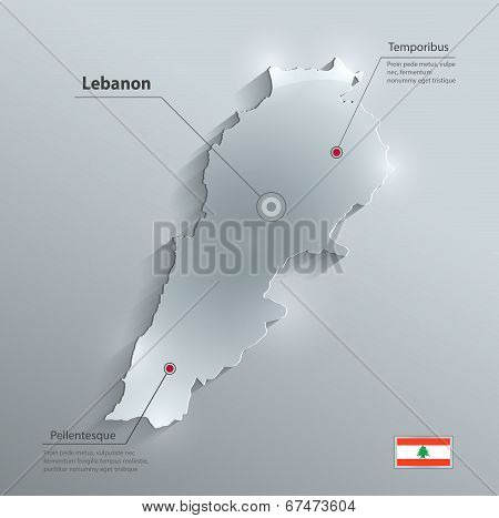 Lebanon Map Glass Card Paper 3D