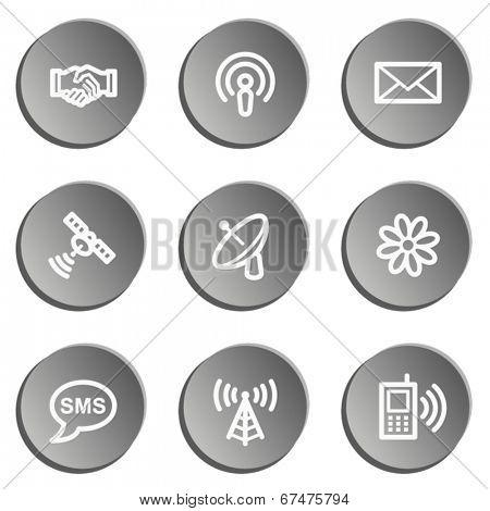 Communication web icons, grey stickers set
