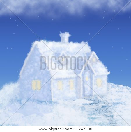 Dream Ice Cloud Winter House Collage