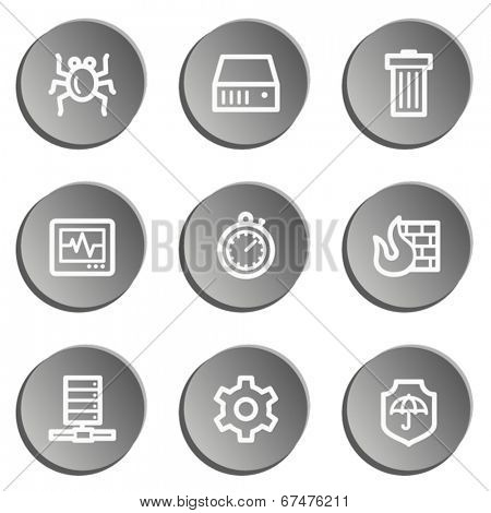 Internet security web icons , grey stickers set
