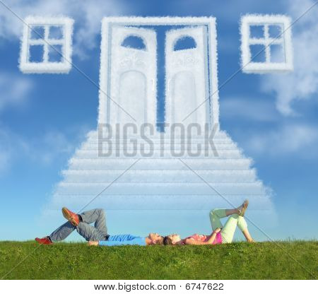 Lying Couple On Grass And Dream Door Way Collage