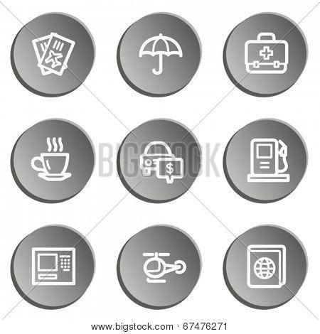 Travel  web icon set 4,  grey stickers set