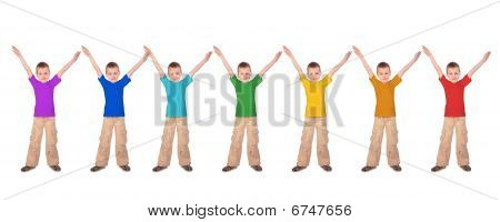 Many Boys With Rainbow Color Sports Shirts, Collage