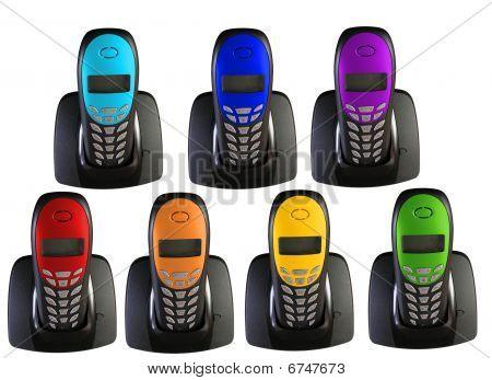 Viele Telefone in der Farbe des Regenbogens, collage