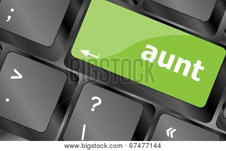 Aunt Word On Keyboard Key, Notebook Computer