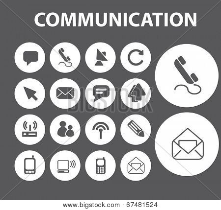communication, internet, mail, phone, call, buttons, icons, signs set, vector