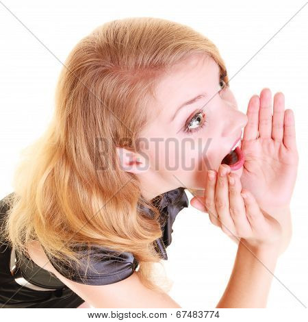 Woman Blonde Buisnesswoman Shouting Isolated