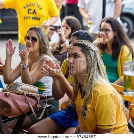 Group of Brazilian Girls Watching World Cup Match at a Bar