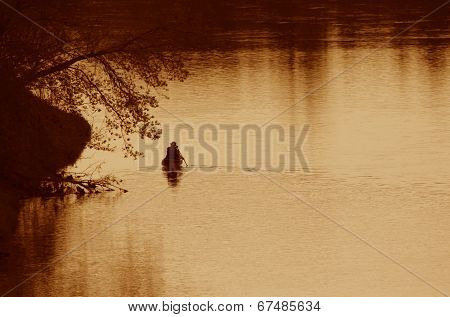 Grand River Canoer Silhouette