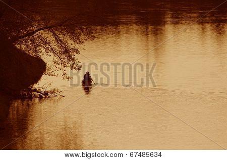 Grand River Canoer Silhouette