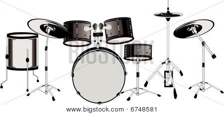 Drummers set ready... isolated illustration..