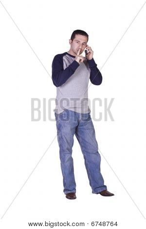 Mediterranean Man Talking On The Phone