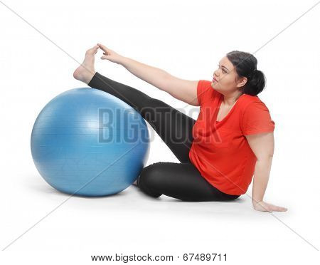Overweight woman exercising. Weight loss concept.