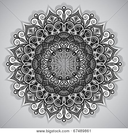 Abstract black and white flower round vector ornament.