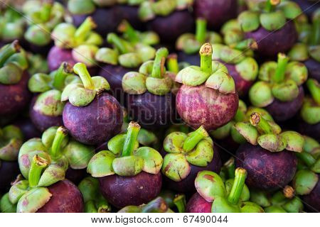Fresh Organic Mangosteen Thai Fruit In Market Thailand.