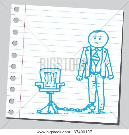 Businessman chained with office chair