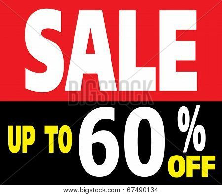 Sale Up To 60 Percents Promotion Label