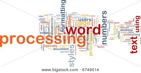 Word Processing Word Cloud