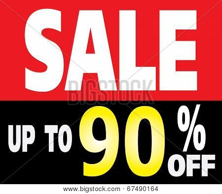 Sale Up To 90 Percents Promotion Label