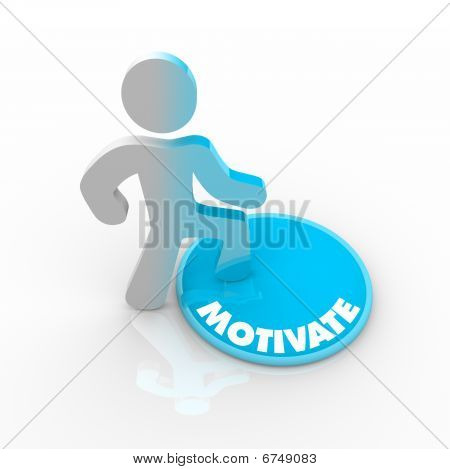 Person Stepping Onto Motivate Button