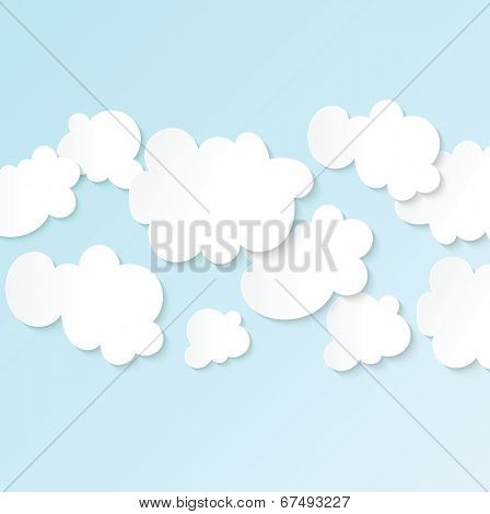 Blue sky white fluffy clouds