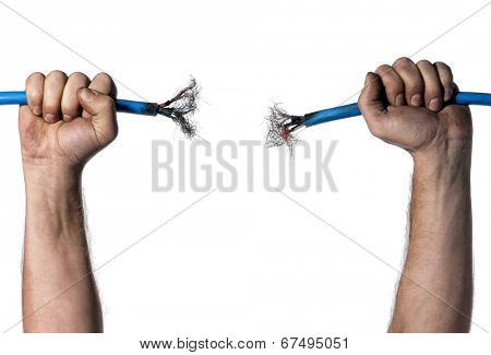 Hands of electrician with cable over white background