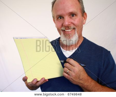 Man holding notepad
