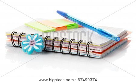 Notebook, leaflets for records and the handle
