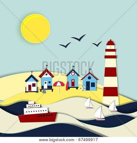 Nautical themed vector landscape