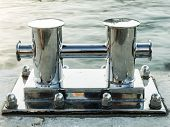 stock photo of bollard  - mooring bollard at the pier chromed metal - JPG