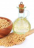 image of soy bean  - Soy beans and oil isolated on white - JPG