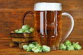 image of hop-plant  - Glass of beer and hops - JPG