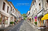 stock photo of albania  - Main street  of historic town Gjirokasteron  in Gjirokaster - JPG