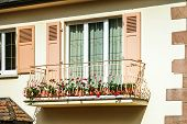 stock photo of hermetic  - Renovated pvc windows in old countryside house Alsace - JPG