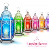 image of eid ka chand mubarak  - illustration of illuminated lamp on Ramadan Kareem  - JPG