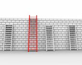 stock photo of overcoming obstacles  - Brick Wall Representing Overcome Obstacles And Obstruction - JPG