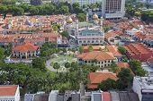 stock photo of malay  - Kampong Glam with Malay Heritage Center and Sultan Mosque Aerial View - JPG