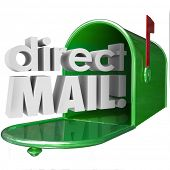 image of mailbox  - Direct Mail words in 3d letters coming out of a green metal mailbox advertising - JPG