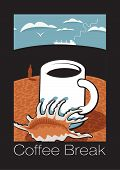 picture of beach shell art  - cup of coffee on the beach with shells and labeled coffee break - JPG