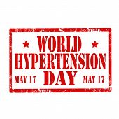 foto of hypertensive  - Grunge rubber stamp with text World Hypertension Day - JPG