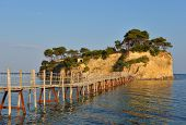 picture of cameos  - Old wooden bridge to Cameo island in Zakynthos island  - JPG