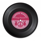 stock photo of hippies  - Isolated vinyl record with hippie signs and symbols - JPG