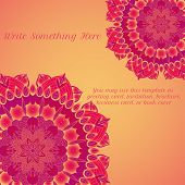 foto of macrame  - vector delicate red lace round mandala pattern - JPG