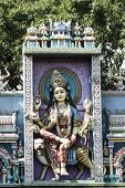 picture of durga  - Monument of Goddess Durga on the entrance of a Hindu temple wall